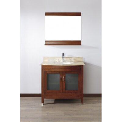 Alfa 36 Single Bathroom Vanity Set with Mirror Base Finish: Ceries Classique, Top Finish: Gala Beige