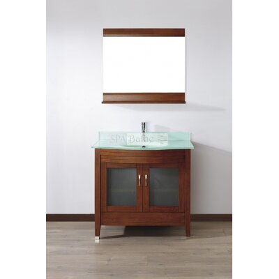 Alfa 36 Single Bathroom Vanity Set with Mirror Base Finish: Ceries Classique, Top Finish: Mint Green Glass