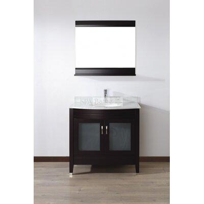 Alfa 36 Single Bathroom Vanity Set with Mirror Base Finish: Chai, Top Finish: Carerra White Marble