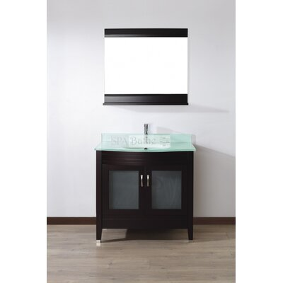 Alfa 36 Single Bathroom Vanity Set with Mirror Base Finish: Chai, Top Finish: Mint Green Glass