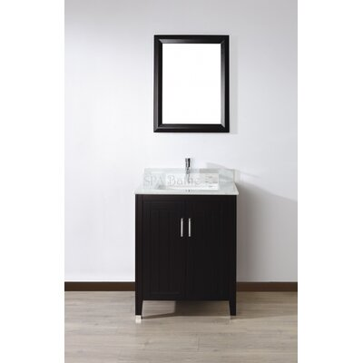 Jacchi 28 Single Bathroom Vanity Set with Mirror Base Finish: Chai, Top Finish: Carerra White Marble