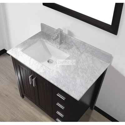 Jacchi 36 Single Bathroom Vanity Set with Mirror Base Finish: Chai, Top Finish: Carerra White Marble