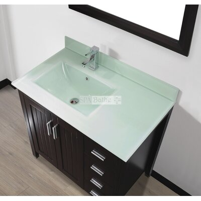 Jacchi 36 Single Bathroom Vanity Set with Mirror Base Finish: Chai, Top Finish: Mint Green Glass