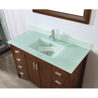 Jacchi 48 Single Bathroom Vanity Set with Mirror Base Finish: Ceries Classique, Top Finish: Mint Green Glass