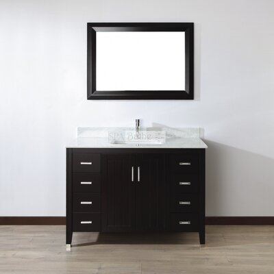 Jacchi 48 Single Bathroom Vanity Set with Mirror Base Finish: Chai, Top Finish: Carerra White Marble