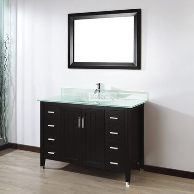 Jacchi 48 Single Bathroom Vanity Set with Mirror Base Finish: Chai, Top Finish: Mint Green Glass