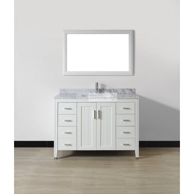 Jacchi 48 Single Bathroom Vanity Set with Mirror Base Finish: White, Top Finish: Carerra White Marble