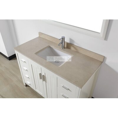 Jacchi 48 Single Bathroom Vanity Set with Mirror Base Finish: White, Top Finish: Gala Beige