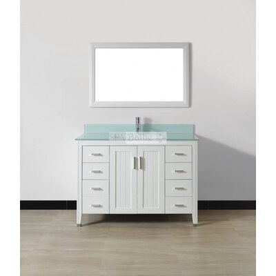 Jacchi 48 Single Bathroom Vanity Set with Mirror Top Finish: Mint Green Glass, Base Finish: White