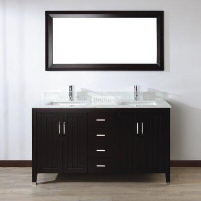 Jacchi 60 Double Bathroom Vanity Set with Mirror Base Finish: Chai, Top Finish: Carerra White Marble