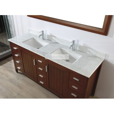 Jacchi 72 Double Bathroom Vanity Set with Mirror Base Finish: Ceries Classique, Top Finish: Carerra White Marble