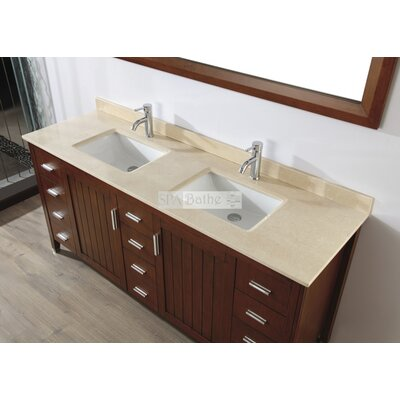 Jacchi 72 Double Bathroom Vanity Set with Mirror Base Finish: Ceries Classique, Top Finish: Gala Beige