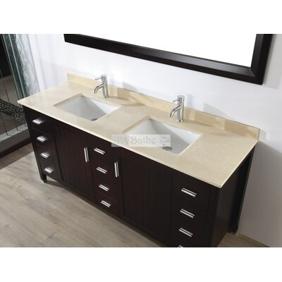Jacchi 72 Double Bathroom Vanity Set with Mirror Base Finish: Chai, Top Finish: Gala Beige