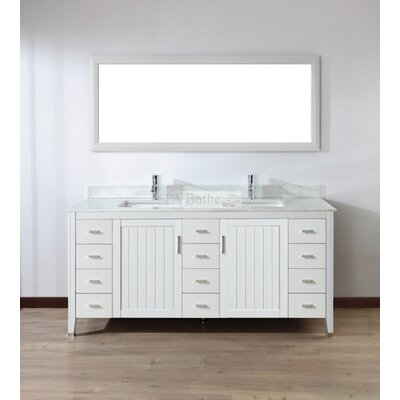 Jacchi 72 Double Bathroom Vanity Set with Mirror Base Finish: White, Top Finish: Carerra White Marble