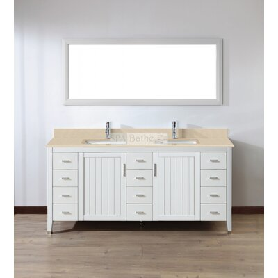 Jacchi 72 Double Bathroom Vanity Set with Mirror Top Finish: Gala Beige, Base Finish: White
