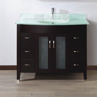 Alfa 42 Single Bathroom Vanity Set with Mirror Base Finish: Chai, Top Finish: Mint Green Glass