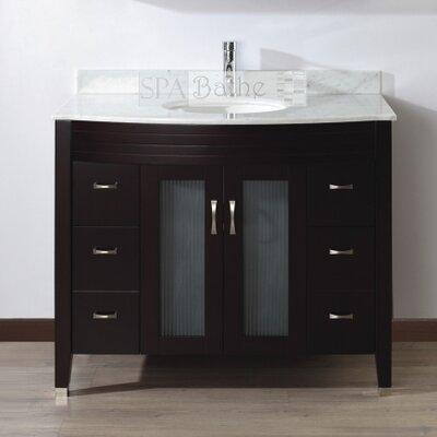 Alfa 42 Single Bathroom Vanity Set with Mirror Base Finish: Chai, Top Finish: Carerra White Marble