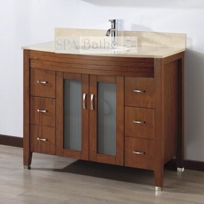 Alfa 42 Single Bathroom Vanity Set with Mirror Base Finish: Ceries Classique, Top Finish: Gala Beige