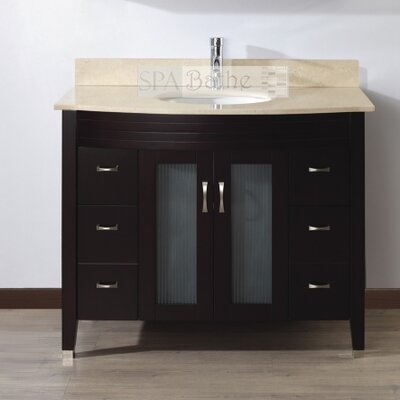 Alfa 42 Single Bathroom Vanity Set with Mirror Base Finish: Chai, Top Finish: Gala Beige
