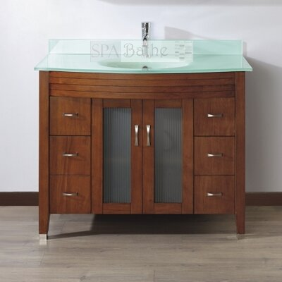 Alfa 42 Single Bathroom Vanity Set with Mirror Base Finish: Ceries Classique, Top Finish: Mint Green Glass