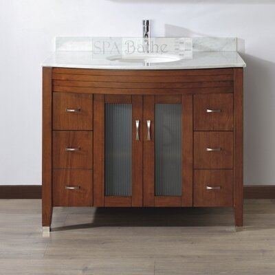 Alfa 42 Single Bathroom Vanity Set with Mirror Base Finish: Ceries Classique, Top Finish: Carerra White Marble