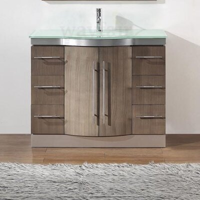 Dinara 42 Single Bathroom Vanity Set with Mirror Base Finish: Smoked Ash, Top Finish: Mint Green Glass