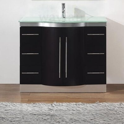 Dinara 42 Single Bathroom Vanity Set with Mirror Base Finish: Chai, Top Finish: Mint Green Glass