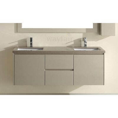 Barros 63 Double Bathroom Vanity Set with Mirror Base Finish: High Gloss Sand, Top Finish: Nougat Quartz
