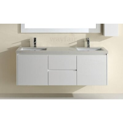 Barros 63 Double Bathroom Vanity Set with Mirror Base Finish: High Gloss White, Top Finish: Nougat Quartz