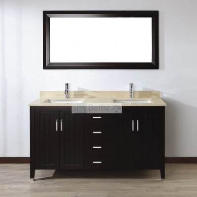 Jacchi 60 Double Bathroom Vanity Set with Mirror Base Finish: Chai, Top Finish: Gala Beige