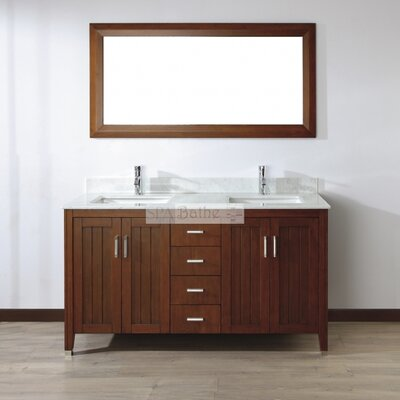 Jacchi 60 Double Bathroom Vanity Set with Mirror Top Finish: Mint Green Glass, Base Finish: White