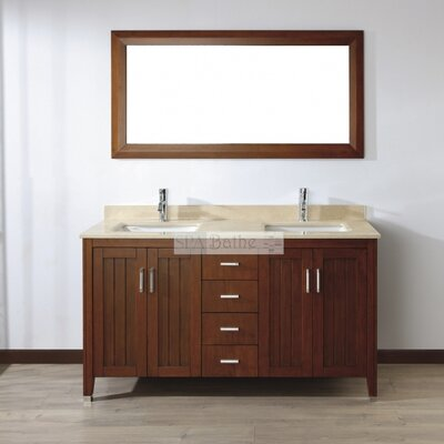 Jacchi 60 Double Bathroom Vanity Set with Mirror Base Finish: Ceries Classique, Top Finish: Gala Beige