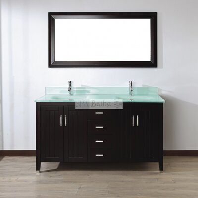 Jacchi 60 Double Bathroom Vanity Set with Mirror Base Finish: Chai, Top Finish: Mint Green Glass