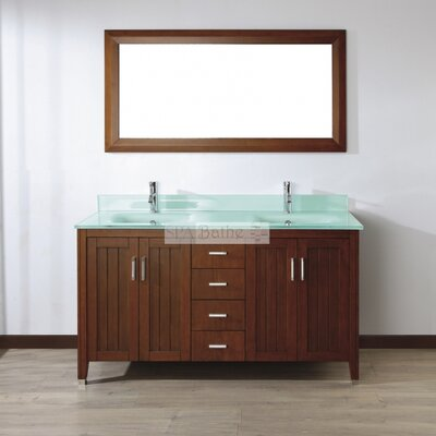Jacchi 60 Double Bathroom Vanity Set with Mirror Base Finish: Ceries Classique, Top Finish: Mint Green Glass