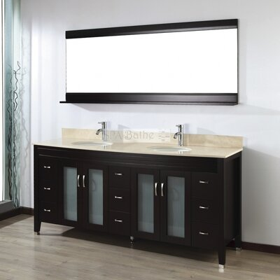 Alfa 75 Double Bathroom Vanity Set with Mirror Base Finish: Chai, Top Finish: Gala Beige