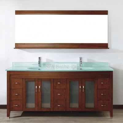 Alfa 75 Double Bathroom Vanity Set with Mirror Base Finish: Ceries Classique, Top Finish: Mint Green Glass