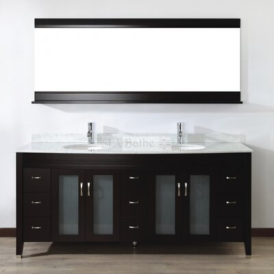 Alfa 75 Double Bathroom Vanity Set with Mirror Base Finish: Chai, Top Finish: Carerra White Marble