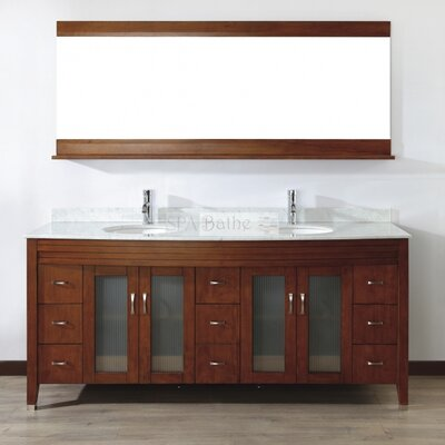 Alfa 75 Double Bathroom Vanity Set with Mirror Base Finish: Ceries Classique, Top Finish: Carerra White Marble