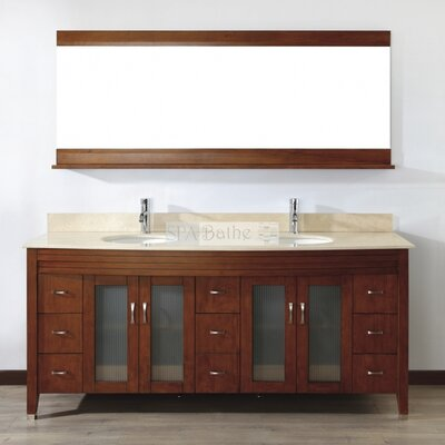 Alfa 75 Double Bathroom Vanity Set with Mirror Base Finish: Ceries Classique, Top Finish: Gala Beige