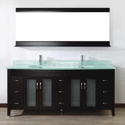 Alfa 75 Double Bathroom Vanity Set with Mirror Base Finish: Chai, Top Finish: Mint Green Glass