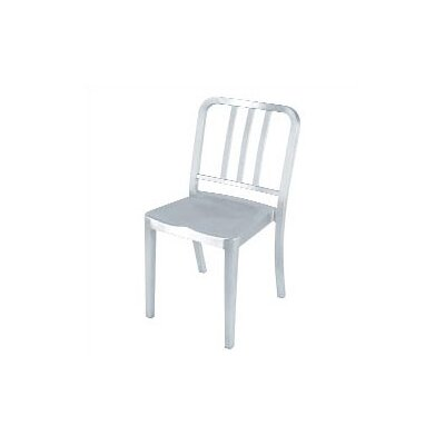 Picture of Emeco Heritage Stacking Dining Chair Finish: Brushed Aluminum, Upholstery: Black Vinyl in Large Size