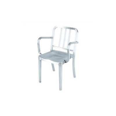 Low Price Emeco Heritage Stacking Dining Arm Chair Finish: Hand Polished Aluminum, Upholstery: None