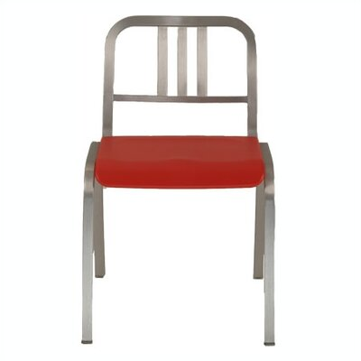 Low Price Emeco Nine-0 Stacking Dining Chair Seat Back: 3-Bar Back, Finish: Hand Polished Aluminum, Upholstery: Valentine Red