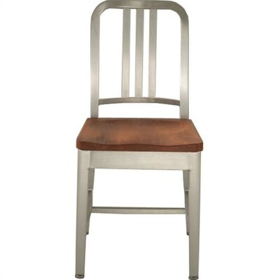Picture of Emeco Natural Wood Seat Navy Dining Chair Finish: Hand Polished Aluminum, Seat Finish: Maple in Large Size