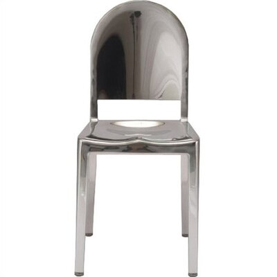 Low Price Emeco Morgans Dining Chair Finish: Brushed Aluminum, Upholstery: Black Vinyl w/ Fire Retardant