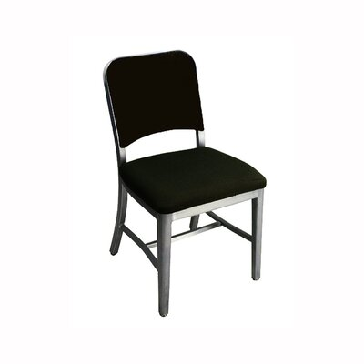 Low Price Emeco Navy Upholstered Mid-Back Office Chair with Arms Finish: Brushed Aluminum, Arms: Not Included, Upholstery: Upholstered