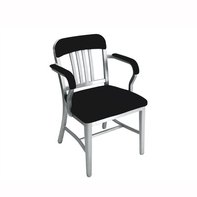 Low Price Emeco Navy Upholstered Mid-Back Office Chair with Arms Finish: Hand Polished Aluminum, Arms: Included, Upholstery: Semi-Upholstered