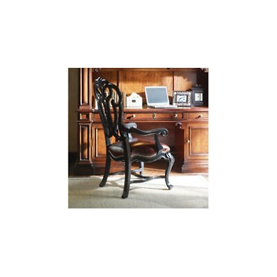 Costa Del Sol Messalinas Blessings Leather Arm Chair Color: Dark Woodtone