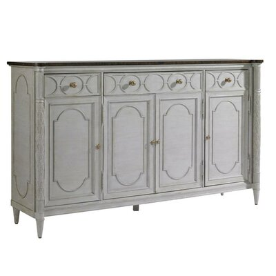 Charleston Regency Sideboard with 4 Doors Color: Gray Linen