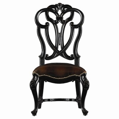 Costa Del Sol MessalinaS Blessings Leather Side Chair Color: Black